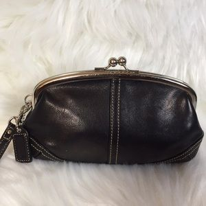 Coach Leather Kiss Closure Wristlet